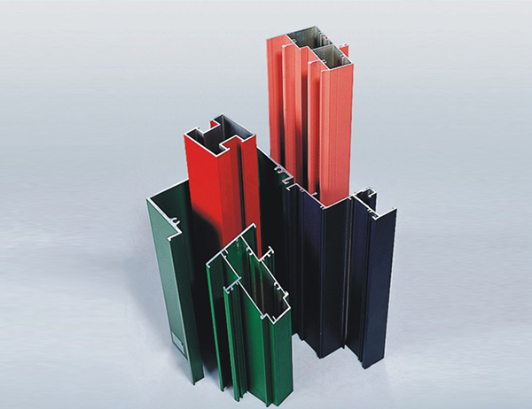 Aluminum profile with multi coloured powder coating